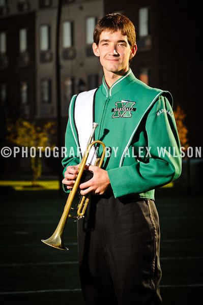 The 2011 Marshall University Marching Thunder marching band group and individual member shots, taken at the band's practice facility on the campus of Marshall University in Huntington, WV.   October 7,  2011  (J. Alex Wilson)