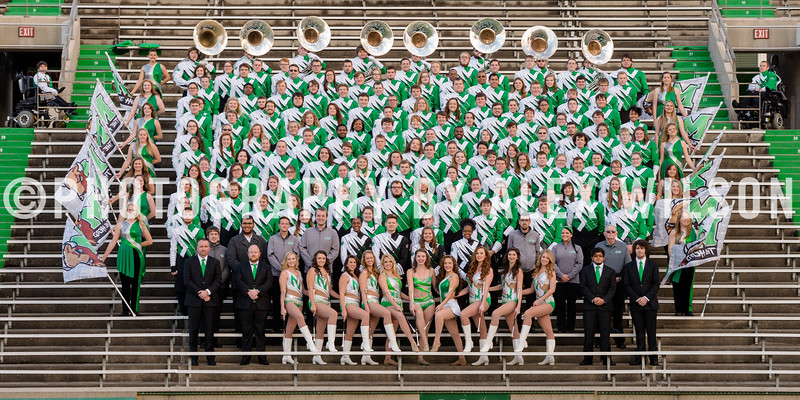 The 2015 Marshall University Marching Thunder marching band group photo, taken at Joan C. Edwards stadium on the campus of Marshall University in Huntington, WV. December 2, 2015  (J. Alex Wilson)