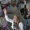 Photo by Mike Silva - Bossier City residents try to catch beads in the Krewe of Centaur parade.