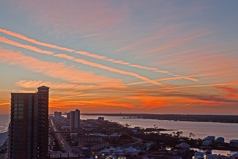 Sunset & Contrails Gulf Shores AL_2246