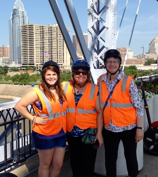 Segway riding stop on the Purple People Bridge over the Ohio River in Cincinnati;  July 2, 2014