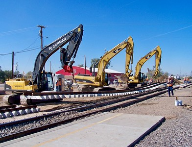 Union Pacific Railroad adds a second track to the State Route 347 crossing in Maricopa (2009)