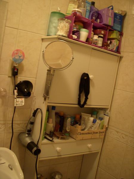 bathroom clutter.