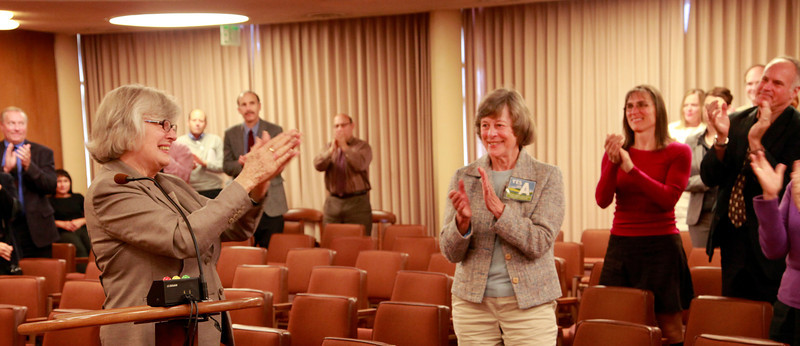 Congresswoman Lynn Woolsey thanks her staff and the crowd at a special Board of Supervisors meeting where she received many accolades for her 20 years representing this district,at the Marin County Civic Center in San Rafael, Calif. on Tuesday, October 23, 2012.Susan Stompe, President of the Marin Conservation League, center.(Special to the IJ/Jocelyn Knight)