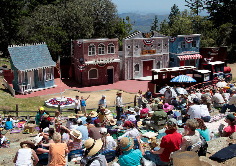 Clear enough to see San Francisco, hundreds picnic in the sunshine before the opening of the 99th Mountain Play, The Music Man, in the amphitheatre on Mt. Tamalpais, Calif.,  Sunday, May 20, 2012. (Special to the IJ/Jocelyn Knight) <br /> ,