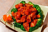 Orange Peel Chicken, deep fried and tosed with fresh orange peel in a mild chili sauce, surrounded by steamed broccoli at the Bamboo Hut restaurant in Mill Valley, Calif. on Thursday, September 29, 2011.(Special to the IJ/Jocelyn Knight)