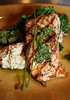 Salmon with Truffle Ceci Bean Puree, Swiss Chard, Chermoula, and Tomato-Almond Pesto is a popular dish at Boca Pizzeria in Novato, CA, seen coming out of the kitchen on July 9, 2010.(Special to the IJ/Jocelyn Knight)