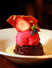 The Volcano, a dessert with rasberry sorbet, caramel Tuile, seasonal berries, marsala, and creme anglaise  at The Hawk's Tavern on Miller Ave.  in Mill Valley, Calif. on Thursday, October 25, 2012.(Special to the IJ/Jocelyn Knight)