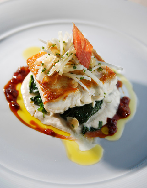 Pacific line caught halibut, spinach, kohlrabi salad, almond, with warm prosciutto vinaigrette, at Murray Circle in Cavallo Point, Sausalito, Calif. on Thursday, September 1, 2011.(Special to the IJ/Jocelyn Knight)