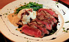 Novato Steak, a  grilled 12 ounce steak topped with green peppercorn sauce at Novato Cafe in Novato, Calif. on Thursday, March 1, 2012.(Special to the IJ/Jocelyn Knight)