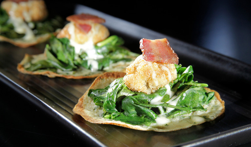 Hangtown Fry, fried oysters, herb crepes, spinach, topped with Zoe's bacon at Terrapin Crossroads in San Rafael, Calif. on Thursday, May 17, 2012.(Special to the IJ/Jocelyn Knight)