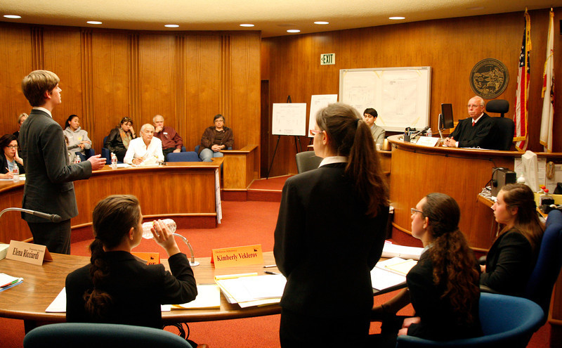 Sander Lutz of Tamalpais High School responds to an objection from Kimberly Veklerov of the Terra Linda High School team in the final round of the 2012 Mock Trial competition at the Marin Hall of Justice, courtroom J, in San Rafael, Calif. on Saturday,  February 4, 2012.  (Special to the IJ/James Cacciatore)