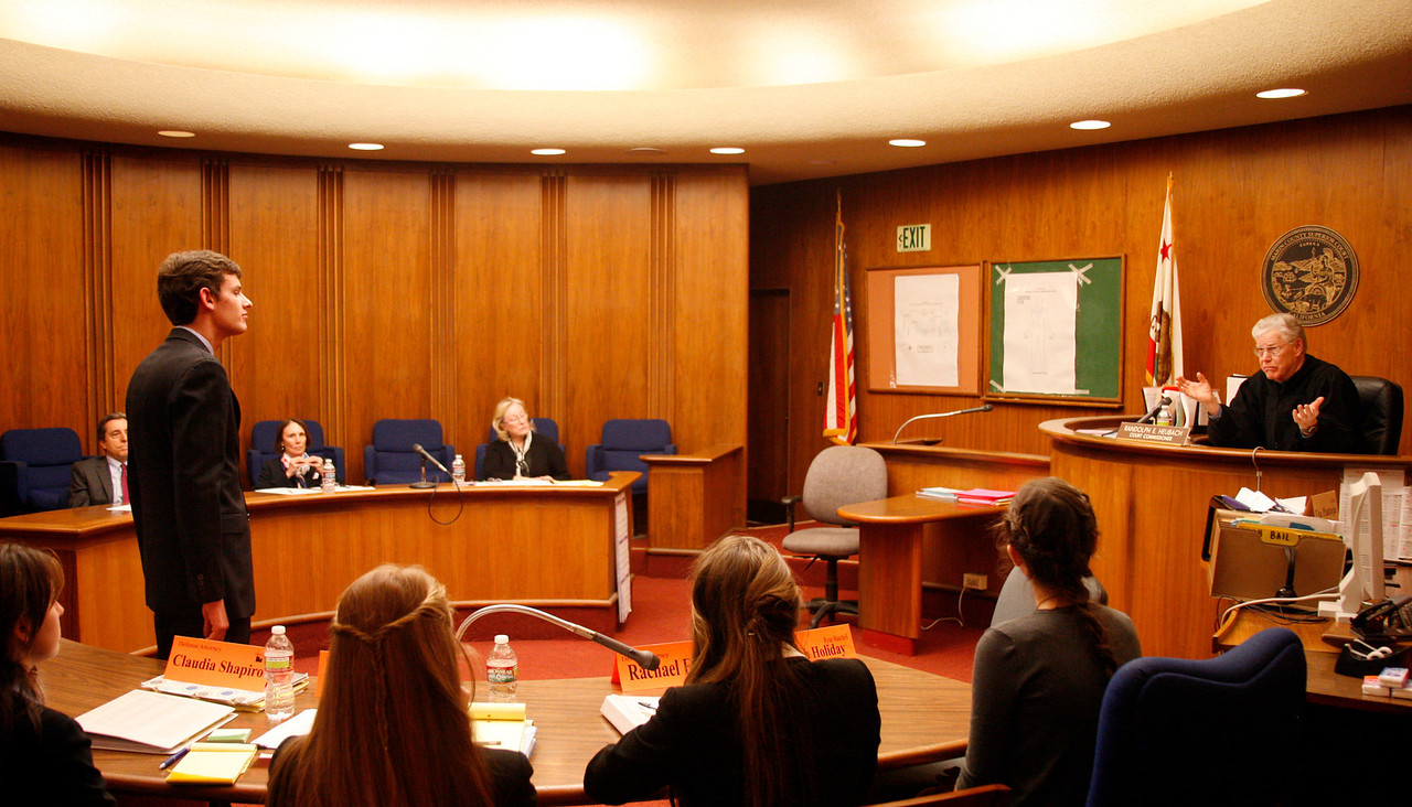 Oliver Ramin of Tamalpais High School contemplates a question by Court Commissioner Randolph E. Heubach in the final round of the 2012 Mock Trial competition at the Marin Hall of Justice, courtroom M, in San Rafael, Calif. on Saturday,  February 4, 2012.  (Special to the IJ/James Cacciatore)