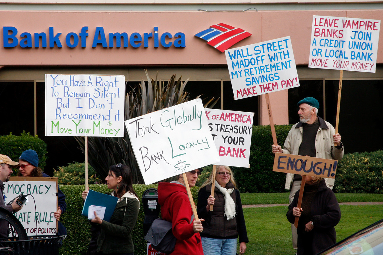 Protesters in front of Bank of America during the Bank Transfer Day protest in downtown San Rafael, Calif. on Saturday November 5, 2011. (Special to the IJ/ James Cacciatore)