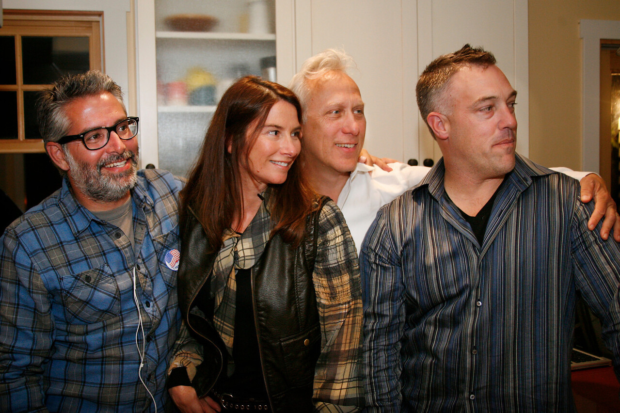Measure D, Fairfax sales tax, supporters, from left Matt Hartwell-Herrero, Holly Bragman, Larry Bragman, and Ryan O'Neil gather at Larry Bragman's house on election night in Fairfax, Calif. on Tuesday November 8, 2011. (Special to the IJ/ James Cacciatore)