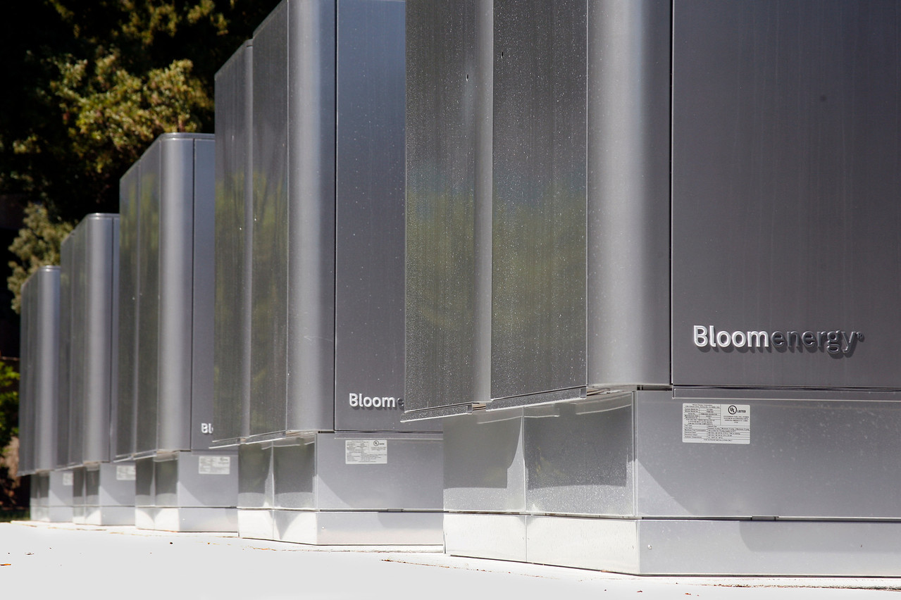 Fireman's Fund Insurance Company's new Bloom Energy Servers in front of the Novato campus. Novato, Calif. on Monday, June 27, 2011. (Special to the IJ/ James Cacciatore)