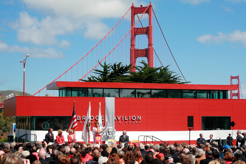 Nancy Pelosi, Minority Leader of the United States House of Representatives speaks at the kickoff ceremony and ribbon cutting at the Golden Gate Bridge Plaza in San Francisco, Calif. on Friday, May 25, 2012.  (Special to the IJ/ James Cacciatore)