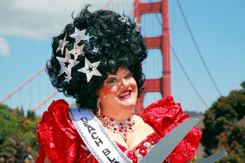 Tammy Nelson, of Beach Blanket Babylon, was one of the ribbon cutting dignitaries at the kickoff ceremony in the Golden Gate Bridge Plaza in San Francisco, Calif. on Friday, May 25, 2012.  (Special to the IJ/ James Cacciatore)