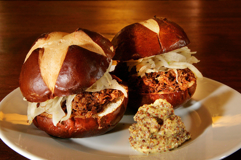 Braised Pork Shoulder Sliders with fennel spice rubbed pork slow cooked and shredded, topped with fresh fennel slaw on pretzel buns served with whole grain mustard at La Loggia in San Anselmo, Calif. Thursday, November 1, 2012.(Special to the IJ/James Cacciatore)