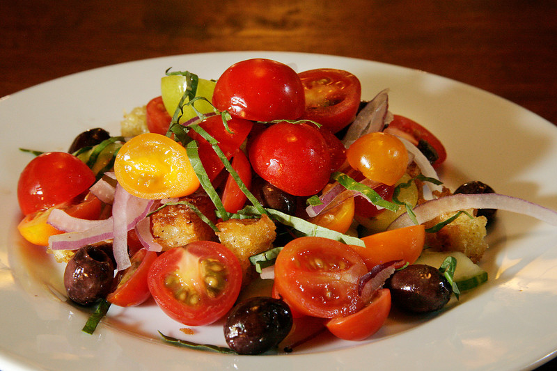 Panzanella with cherry tomatoes, toasted artisanal bread, cucumber, red onions, olives, basil, and balsamic vinaigrette at La Loggia in San Anselmo, Calif. Thursday, November 1, 2012.(Special to the IJ/James Cacciatore)