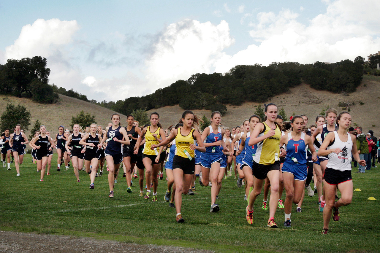 The start of the girls MCAL cross country championship in Novato, Calif. Thursday, November 8, 2012.(Special to the IJ/James Cacciatore)