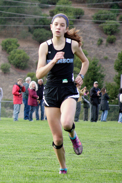 Anna Harleen of Branson comes in second at the girls MCAL cross country championship in Novato, Calif. Thursday, November 8, 2012.(Special to the IJ/James Cacciatore)