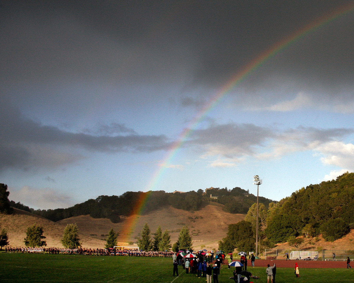A rainbow ends at the start of the boys MCAL cross country championship in Novato, Calif. Thursday, November 8, 2012.(Special to the IJ/James Cacciatore)