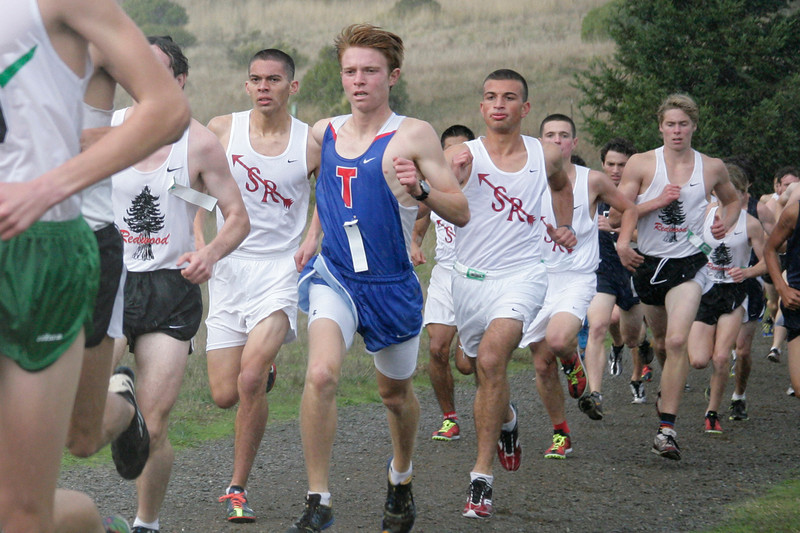 San Rafael's cross country runners in the front of the pack in the boys MCAL cross country championship in Novato, Calif. Thursday, November 8, 2012.(Special to the IJ/James Cacciatore)
