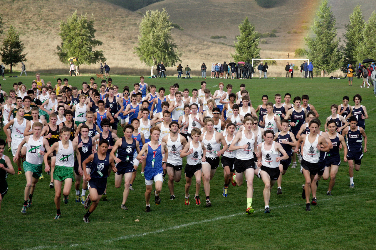 The start of the boys MCAL cross country championship in Novato, Calif. Thursday, November 8, 2012.(Special to the IJ/James Cacciatore)