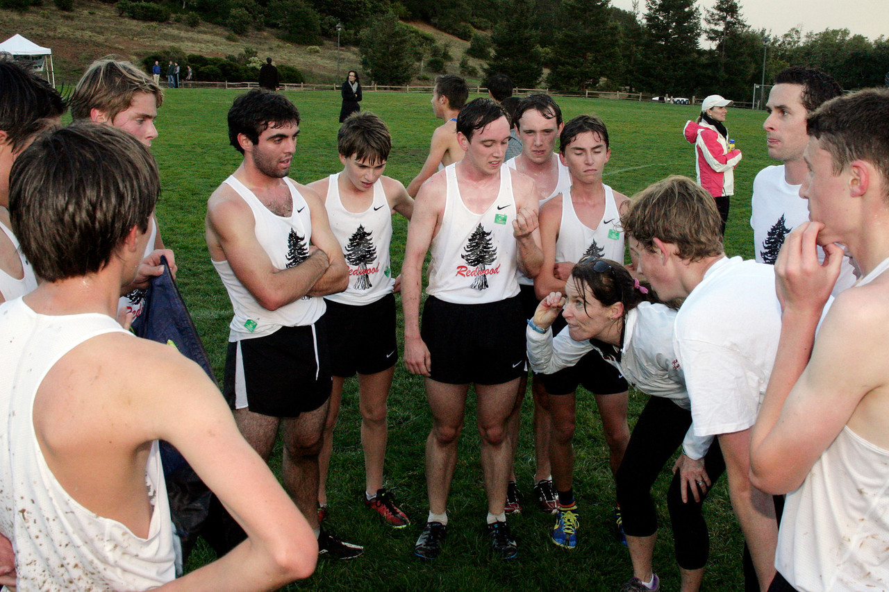 Team Redwood huddles after the race at the boys MCAL cross country championship in Novato, Calif. Thursday, November 8, 2012.(Special to the IJ/James Cacciatore)