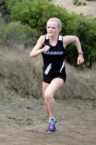 Julia Maxwell of Branson high school leads the way as she powers up the first hill during the girls MCAL cross country championship in Novato, Calif. Thursday, November 8, 2012.(Special to the IJ/James Cacciatore)
