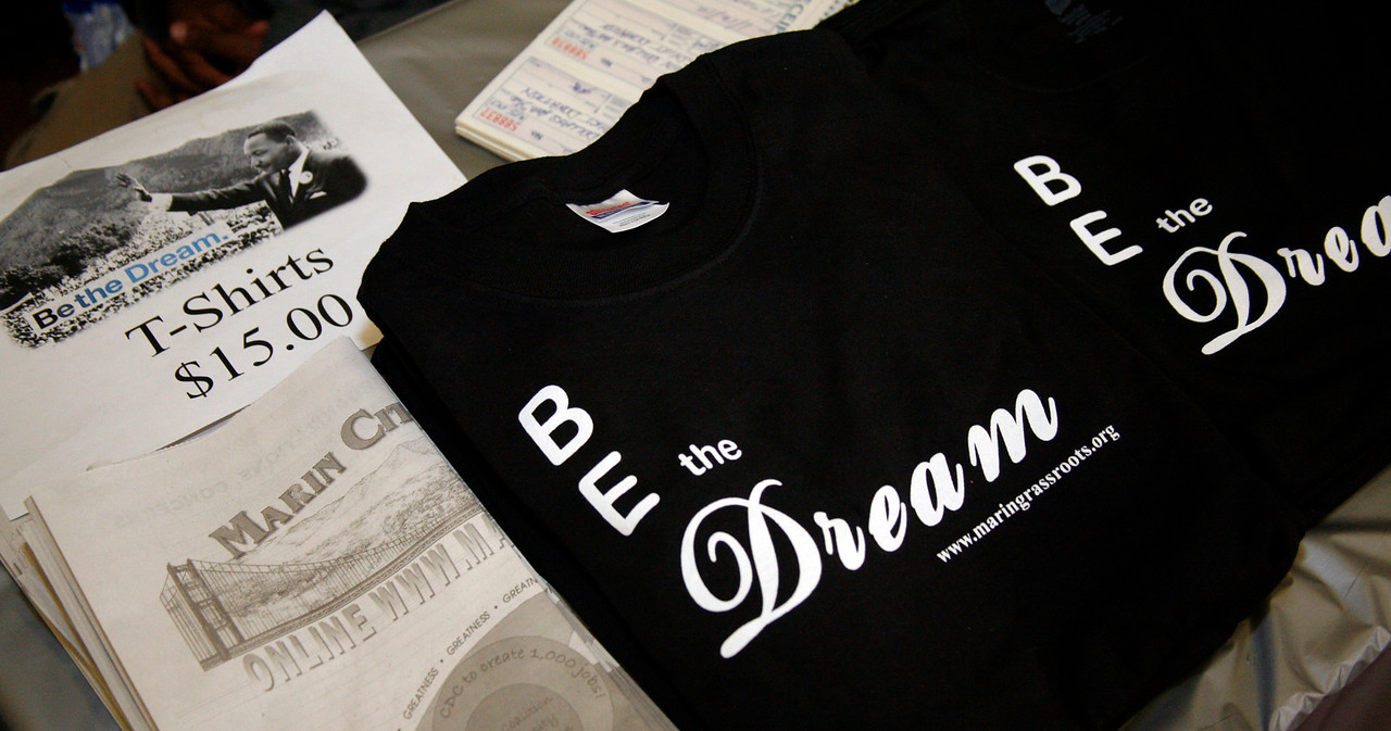 Be the Dream Shirts being sold at the Community Center in Marin City as part of the Martin Luther King Day festivities in Marin City, Calif. on Monday, January 16, 2012.  (Special to the IJ/James Cacciatore Photo)