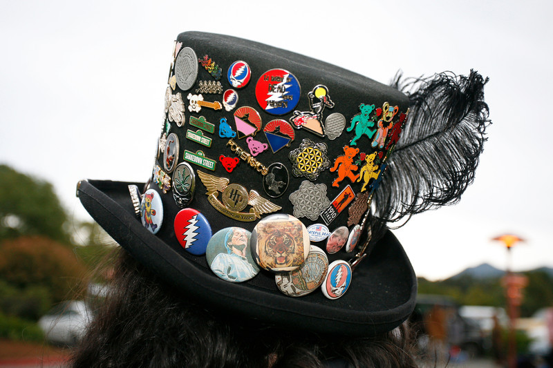 "Fitch the pin vendor's hat, his ""pride and joy"", in the parking lot of the Marin Center before the show. Bob Weir and the Marin Symphony performed music of the Grateful Dead at the Marin Veterans Memorial Auditorium in San Rafael, Calif. on Saturday, May 7, 2011. (Special to the IJ/ James Cacciatore)"