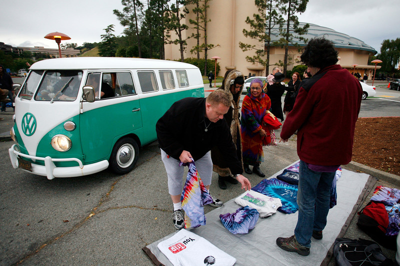 Before the concert vendors sell t-shirts in the parking lot of the Marin Center. Bob Weir and the Marin Symphony performed music of the Grateful Dead at the Marin Veterans Memorial Auditorium in San Rafael, Calif. on Saturday, May 7, 2011. (Special to the IJ/ James Cacciatore)