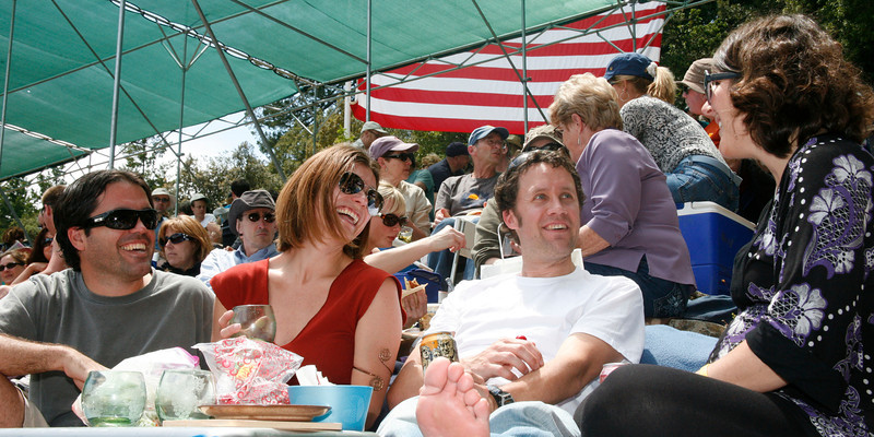 First Year attendees enjoy their picnic lunches in the sun during opening day of the Mountain Play, Hairspray, left Thierry and Stefanie Musy-Verdel and Jeff and Kendra Deja at the Mountain Theater on Mount Tamalpais, Calif. on Sunday, May 22, 2011. (Special to the IJ/ James Cacciatore)
