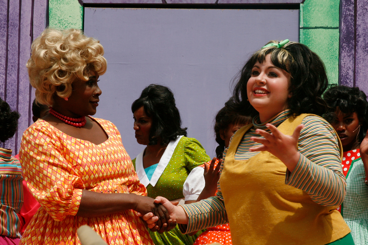 "At right Carol Thomas as Motermouth Maybelle and Kimmie Swanson, as Tracy Turnblad, meet for the first time at the ""Record Shop"" during the Mountain Play's opening day performance of ""Hairspray"" at the Mountain Theater on Mount Tamalpais, Calif. on Sunday, May 22, 2011. (Special to the IJ/ James Cacciatore)"