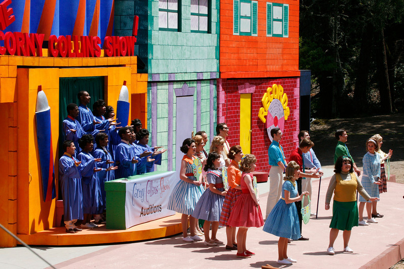 "Cast members sing their hearts out during the Mountain Play's opening day performance of ""Hairspray"" at the Mountain Theater on Mount Tamalpais, Calif. on Sunday, May 22, 2011. (Special to the IJ/ James Cacciatore)"