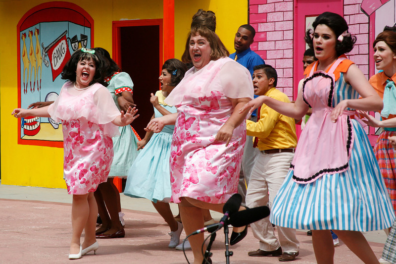 "Kimmie Swanson as Tracy Turnblad and Joshua Castro as her mom Edna and company sing ""Dirty Boogie"" just before intermission at the Mountain Play's opening day performance of ""Hairspray"" at the Mountain Theater on Mount Tamalpais, Calif. on Sunday, May 22, 2011. (Special to the IJ/ James Cacciatore)"