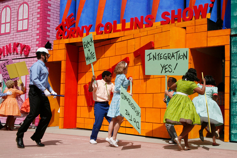 "The ""Police"" break up the demonstration against segregation during the Mountain Play's opening day performance of ""Hairspray"" at the Mountain Theater on Mount Tamalpais, Calif. on Sunday, May 22, 2011. (Special to the IJ/ James Cacciatore)"