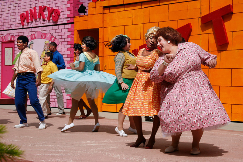 "Second from right Carol Thomas as Motermouth Maybelle and Joshua Castro, right, as Edna Turnblad and company sing and dance during the Mountain Play's opening day performance of ""Hairspray"" at the Mountain Theater on Mount Tamalpais, Calif. on Sunday, May 22, 2011. (Special to the IJ/ James Cacciatore)"