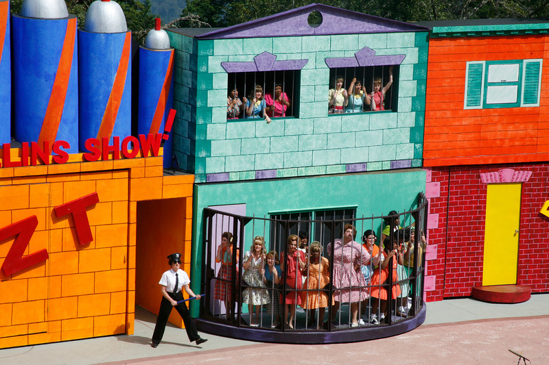 "The female protesters locked in the ""Woman's House of Detention"" sing ""The Big Doll House""during the Mountain Play's opening day performance of ""Hairspray"" at the Mountain Theater on Mount Tamalpais, Calif. on Sunday, May 22, 2011. (Special to the IJ/ James Cacciatore)"