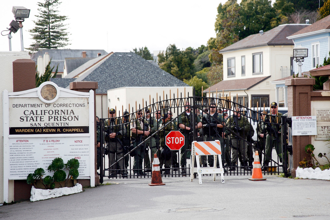 A large Police presence watched the protesters at the main gate to San Quentin Prison in San Quentin, Calif. on Monday, February 20, 2012.  (Special to the IJ/James Cacciatore)