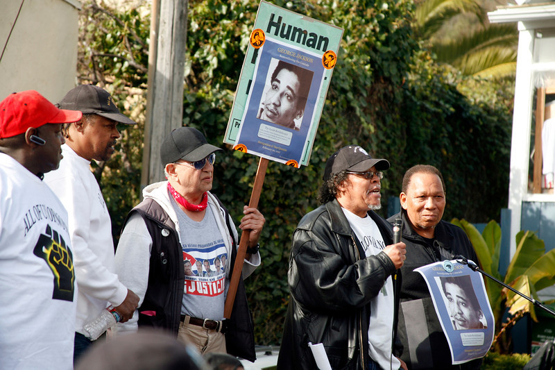 Members of the San Quentin Six speak to the crowd of protesters at the main gate to San Quentin Prison in San Quentin, Calif. on Monday, February 20, 2012.  (Special to the IJ/James Cacciatore)