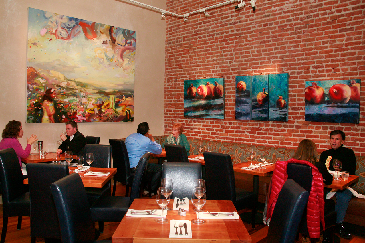 Colorful art adorns the walls at Odalisque Cafe, 1335 Fourth St in San Rafael, Calif. Thursday, December 6, 2012. (Special to the IJ/James Cacciatore)