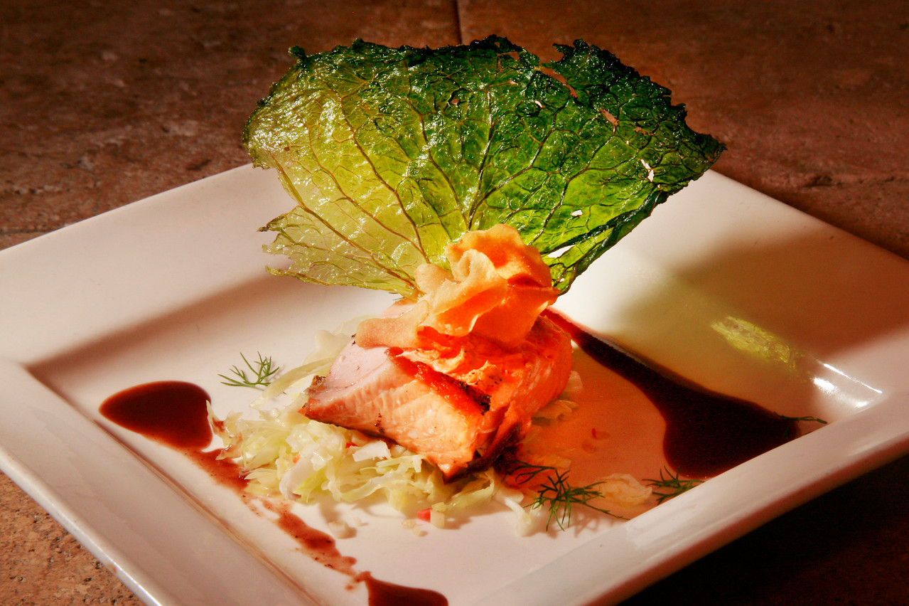 King Salmon from the wood grille with Savoy cabbage, spice jus at Odalisque Cafe, 1335 Fourth St in San Rafael, Calif. Thursday, December 6, 2012. (Special to the IJ/James Cacciatore)
