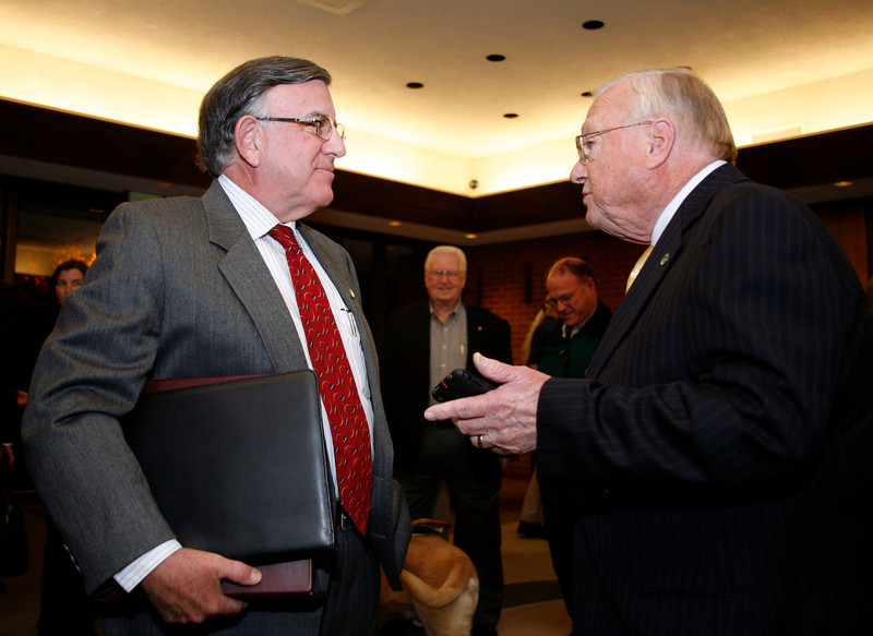 Gary Phillips talks with Al Boro before being sworn in as San Rafael's new mayor at the city hall council chambers in San Rafael, Calif. on Monday, December 5, 2011.  (Special to the IJ/ James Cacciatore)