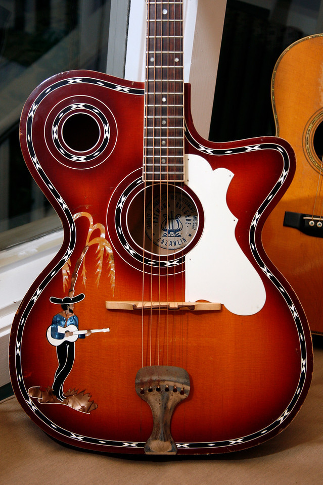 """A rare Bulgarian guitar from Eric Schoenberg Guitar Shop was one of the instruments played by Singer-songwriter-guitarist Stevie Coyle on his """"Wee Wednesday Webcast"""" via Stageit.com from Eric Schoenberg's home in Tiburon, Calif. on Wednesday, February 22, 2012.  (Special to the IJ/James Cacciatore)"""