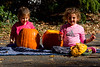 Mia and Ava working on pumpkins - 2016-10-29