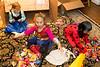 Kendall, Mia, Annika checking out loot - 2017-10-31
