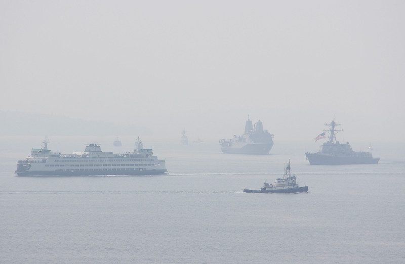 Puget Sound - Seafair - Smoke from Canada Forest Fires - 2017 August